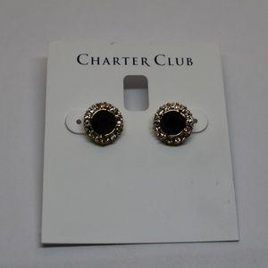 Charter Club Gold Tone Pave & Stone Halo Stud Earr